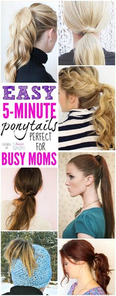 What mom has hours to spend fixing hair? These 5 minute ponytail hairstyle ideas are perfect for busy moms and might just change your life! 5 Minute Hairstyles, Cute Hairstyles, Hairstyle Ideas, Easy Ponytail Hairstyles, Wedding Hairstyles, Bangs Hairstyle, Wedge Hairstyles, School Hairstyles, Beautiful Hairstyles