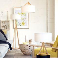 Jacob Pendant in White/Oak, standard lamp and table lamp. Beacon lighting