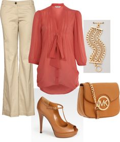 """Khaki Coral"" by dottcaldwell ❤ liked on Polyvore"