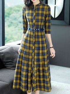 A-Line Daily Checkered/plaid Midi Dress Cheap Elegant Dresses, Stylish Dresses For Girls, Stylish Dress Designs, Designs For Dresses, Pretty Dresses, Casual Dresses, Teen Fashion Outfits, Fashion Dresses, Girls Frock Design