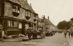 Alfriston East Sussex Old Star Inn probably 1920s showing horse and cart and old car.( Digital Image)