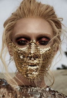 Caroline Wilson Beauty Shoot Metallic Eyeshadow Thumbtack Mask | NEW YORK FASHION BEAUTY PHOTOGRAPHER- EDITORIAL COMMERCIAL ADVERTISING PHOTOGRAPHY