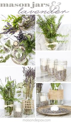 beautiful! Mason jars with dried lavender make easy and gorgeous centerpieces for home, parties, weddings, or baby showers   maisondepax.com