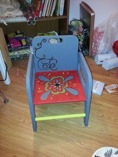 Hand painted toddler chair for sale that name or initials can be placed on chair