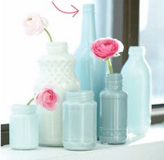 """Painted Bottles DIY __ """"All you need is any glass container (preserves jars, milk bottles) then pour a dollop of paint into the bottle and gradually rotate/swirl the paint inside until the paint coats the entire interior."""" Get an ombré shaded effect by steadily adding more white to your chosen colour maybe - time to experiment??!"""
