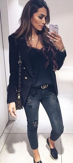#fall #outfits women's blue distressed jeans and blue coat