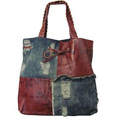 Amerileather Oversized Trisha Leather/ Denim Tote    wow