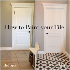 DIY:  How to Paint a Tile Floor - this post shows how to prep, paint and stencil a floor with ASCP,  then seal with polyurethane - Remington Avenue