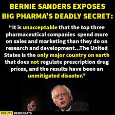 It's like he took the Nobel Peace Prize as an insult (Big Pharma's Deadly Secret) Bernie Sanders For President, Nobel Peace Prize, Political Views, Political Quotes, Sales And Marketing, Greed, Knowledge, Wisdom, Feelings