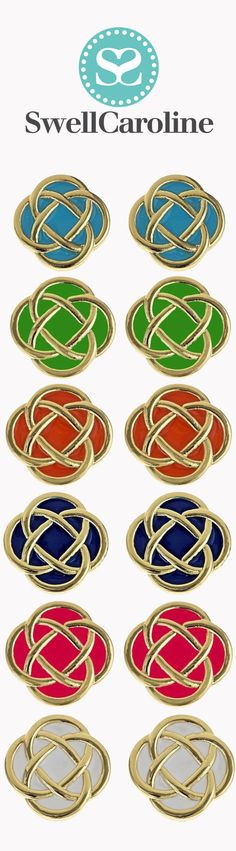 Colorful celtic knots, The Murphy Earring Collection from SwellCaroline.com