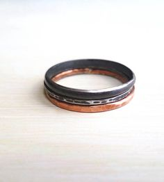 Copper & Oxidized Silver Stacking Rings - Set of 3 | Jewelry Rings | Andy's House of Design | Scoutmob Shoppe | Product Detail