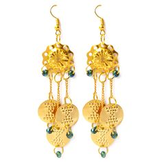 Handcrafted pair of dangling ear pieces with 22k gold plated tribal coins that combines the classic with the contemporary.  www.tadpolestore.com
