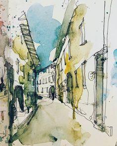 Watercolor City, Watercolor Images, Watercolor Drawing, Watercolor Landscape, Abstract Landscape, Landscape Sketch, City Landscape, Urban Landscape, City Sketch