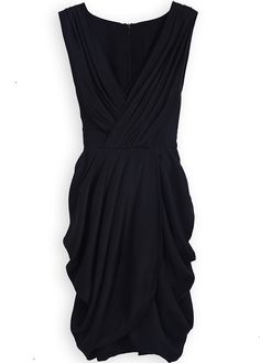 Black Sleeveless Wrap Deep V-neck Draped Side Belt Dress