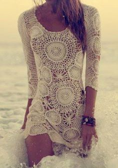 The Vogue Fashion: Adorable Boho Lace Summer Beach Dress Boho Chic, Bohemian Style, Vintage Bohemian, Bohemian Beach, Bohemian Summer, Gypsy Style, Vogue Fashion, Look Fashion, Womens Fashion