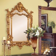 The Howard Elliott Collection Arlington Gold Baroque Mirror 84001 - The Home Depot Rustic Wall Mirrors, Contemporary Wall Mirrors, Round Wall Mirror, Mirror Art, Mirror Collage, Mirror Bedroom, Mirror Ideas, Beveled Mirror, Modern Wall