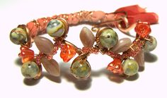 Cadmium Orange Woven Copper Floral Bracelet - pinned by pin4etsy.com