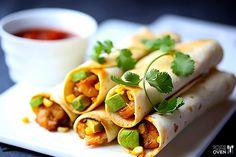Shrimp, Avocado and Roasted Corn Baked Taquitos | gimmesomeoven.com