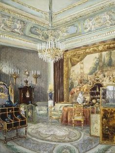 """Interior in the Anichkov Palace""  By: Muravyov, Vladimir Leonidovich  Russia,  1897"