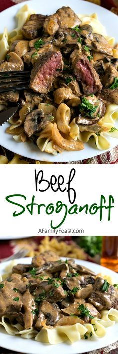 Beef Stroganoff prepared the way it should be! Tender chunks of beef and sliced mushrooms in a fantastic, flavorful sauce.