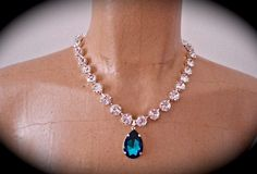 Large Blue Crystal Crystal Pendant Necklace - The Crystal Rose Bridal Jewelry and Accessories