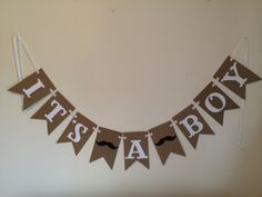 Get your hands on this stylish Its a Boy Mustache Pennant Banner to announce the arrival of your new baby boy! this banner is perfect for