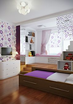 A Modern Teen Room . I love this idea! There would be so much room! Girl Room, Girls Bedroom, Bedroom Decor, Bedroom Ideas, Awesome Bedrooms, Cool Rooms, Diy Kids Room, Modern Teen Room, Cute Room Ideas