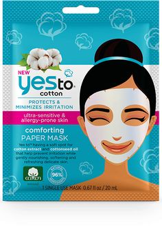 yes to cotton COMFORTING PAPER MASK – SINGLE USE MSRP: $2.99 FOR: ULTRA-SENSITIVE + ALLERGY-PRONE SKIN SIZE: 0.67 fl oz / 1 SINGLE USE MASK