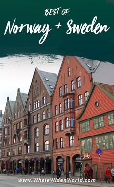 Best of Norway and Sweden : Bryggen, Bergen, Norway. Red and brown buildings peppered with rows and rows of windows and tall slanted roofs are sandwiched together along the main street. People walk in and out of the shops and restaurants in this small traditional Norwegian town. #norway #bergen #bryggen #bestofnorway #bestofsweden #travelnorway #travelsweden #travel #wholewidenworld