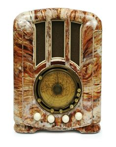 Airzone Symphony Leader radio, marbleised white and brown case circa 1938 Australia
