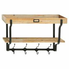 """Multi-level wood wall shelf with a metal frame and four double hooks.Product: Wall shelfConstruction Material: Wood and metal  Color: Brown and natural   Features: Four double hooks Dimensions: 17"""" H x 26"""" W x 9"""" D"""