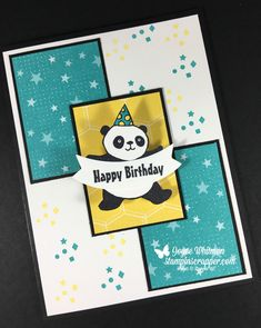 Can you make a panda dance?  I can!  Check it out on my blog.  .  I used the Party Panda stamp set along with the Bubbles & Fizz designer series paper from Stampin' Up! 2018 Sale-A-Bration catalog.  I also used the Duet Banner punch.