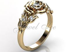 14k yellow gold diamond unusual unique flower by Jewelice on Etsy