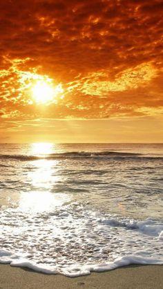 Beach sunset, Dusk, Beach, Landscape | iPhone Backgrounds