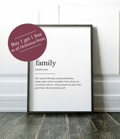 Black and white wall art. Modern Scandi style typography prints.  Buy one Definition Print, get one free!  Just add one print to your basket, then please let me know which free definition print you would like using the message box on the checkout page.  Choose from:  Family Home Love Guest Friend Tomorrow Nerd Laugh Mum / Mother / Mom Dad / Father  Lots more definition prints are available here: www.etsy.com/uk/shop/NordicDesignHouse?section_id=19667373  Loo...