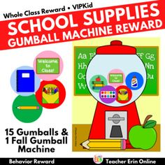 This school supply themed gumball machine student incentive adds a new twist to your gumball machine reward! Each gumball features a school supply themed graphic to reward your students. Your students will LOVE adding these fun gumballs to the machine as their earn their reward! Perfect for back to... Behavior Rewards, Classroom Rewards, Behavior Management, Gumball Image, Student Incentives, Reward Ideas, Reward System, Gumball Machine, Classroom Community