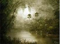 A peaceful tranquil day on the misty river - featuring palm trees, Oak trees with spanish moss hanging down and birds- sets the mood. Created by Artist Mazz (Mark Mazzarella) - florida highwaymen paintings - Bing Images