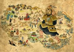 Mongol Empire Map - love that it tells more about the areas than lines and dots.... but wonder when it was made.