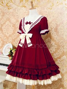 Sweet The Sails Of The Rhine Op One Piece Lolita Dress With Cute Bows Ruffles