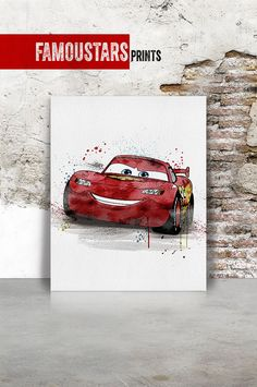 Cars print Disney Pixar lightning mcqueen Watercolor by FamouStars