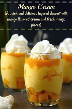 Step-by-step recipe with pictures to make Mango cream. How to make mango cream. Pictorial recipe to make Mango cream, an easy, no-cook, delicious eggless dessert. Mango Dessert Recipes, Indian Dessert Recipes, Mango Recipes Indian, Tropical Desserts, Dessert Mousse, Mango Mousse Cake, Mango Cake, Mango Cream, Cream Cream
