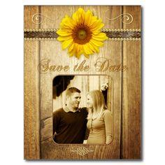 COBALT BLUE RUSTIC SUNFLOWER SAVE THE DATE CARD | My♥Wedding ...