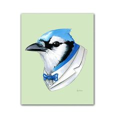 "Nicknamed ""Rocket"", this Blue Jay is known for his graceful speed and cunning wit. As a regular ""man about town"" he knows where to be seen and how to entertain. When he isn't fluttering around the city he provides technical assistance to Hollywood aviation films. This is a digital archival print created from original pen and ink drawing. 8x10 - Comes with backing in plastic sleeve just for you - all ready to pop in a frame.    [SEE ADDITIONAL LISTING FOR 5X7 PRINT]    All images copyright…"