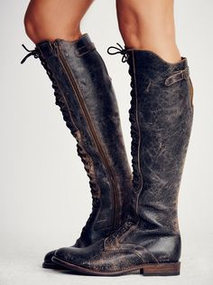 Bed Stu Black Lux Glastonbury Lace-Up Boot at Free People Clothing Boutique Tall Lace Up Boots, Tall Leather Boots, Distressed Leather, Laced Boots, Cowgirl Boots, Riding Boots, Fashion Shoes, Fashion Outfits, Boating Outfit