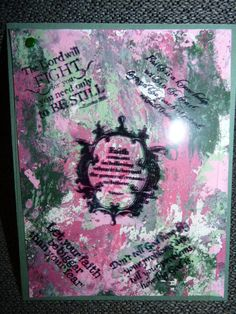 Gelli plate background paper Acetate overlay with great Christian sayings of faith