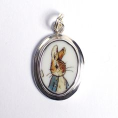 Peter Rabbit broken china jewelry charm.  From a child's tea set.  www.vbelle.com, $62