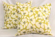 2 Decorative Pillows Modern Floral  Vintage Yellow by SewGracious, $30.00