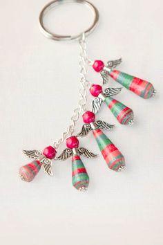 Paper Bead Angel Keychain