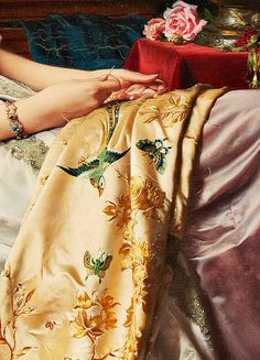 Detail of a beautiful painting of a woman doing exquisite embroidery on silk.