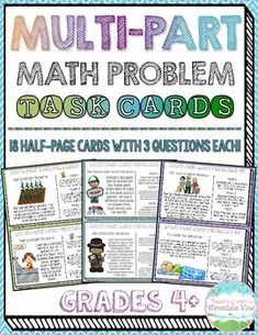 18 Half-Page Multi-Part Math Problem Task Cards that will engage your students in practicing a variety of math skills! These Performance Based Tasks are essential in preparing for upcoming, rigorous state tests!$